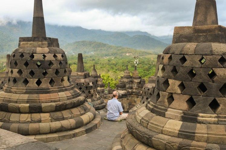 Meditating at Borobudur